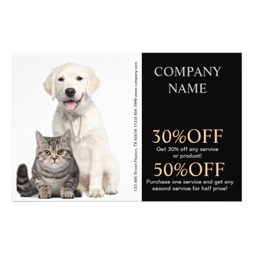 Modern cute animals pet service beauty salon flyer
