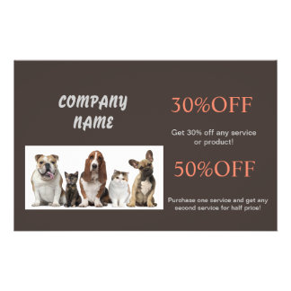 Modern cute animals pet service beauty salon flyer design