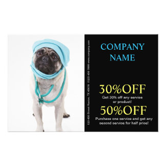 Modern cute animals pet service veterinary 14 cm x 21.5 cm flyer