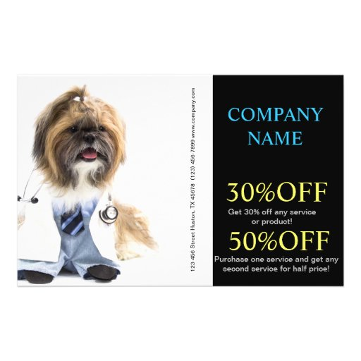 Modern cute animals pet service veterinary personalized flyer