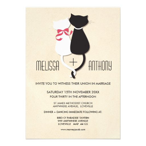 Modern Cute Cat Couple Monogram Wedding Invite