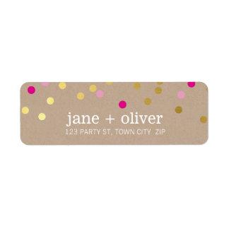 MODERN cute confetti spots gold bright pink kraft