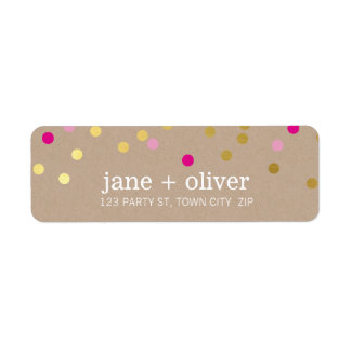MODERN cute confetti spots gold bright pink kraft Return Address Label