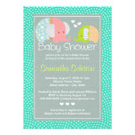 Modern Cute Elephant Mom and Baby Boy Shower Personalized Announcements