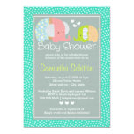 Modern Cute Elephant Mum and Baby Boy Shower Personalized Announcement