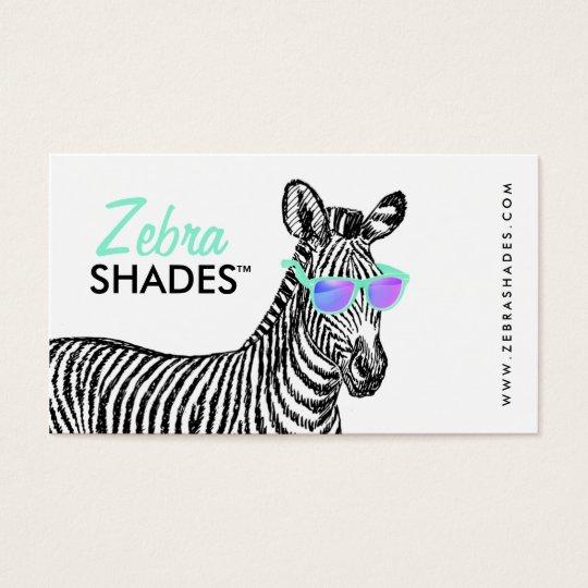 Modern cute funny zebra sketch trendy glasses cool business card