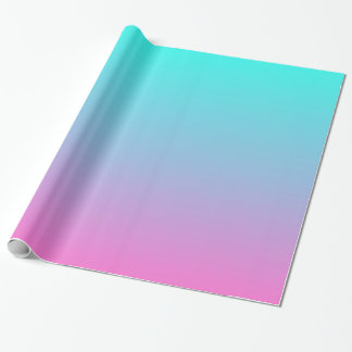 modern cute girly hot pink Fuchsia turquoise ombre Wrapping Paper