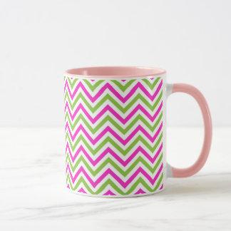 Modern Cute lime-pink zig zags Mug