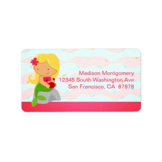 Modern Cute Mermaid Pink Address Label
