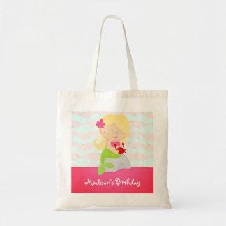 Modern Cute Mermaid Pink Birthday Party Canvas Bag