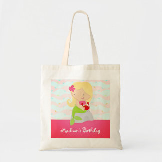 Modern Cute Mermaid Pink Birthday Party Canvas Bag