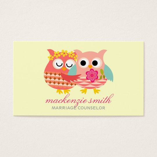 Modern Cute Owls Couple Marriage Counsellor Business Card