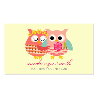 Modern Cute Owls Couple Marriage Counselor Pack Of Standard Business Cards