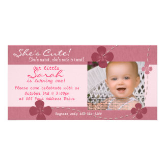 Modern Cutie Birthday Invitation with Flowers Personalized Photo Card