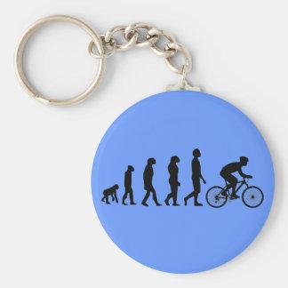 Modern Cycling Human Evolution Scheme Basic Round Button Key Ring