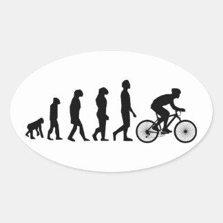 Modern Cycling Human Evolution Scheme Oval Sticker