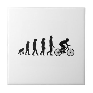 Modern Cycling Human Evolution Scheme Small Square Tile