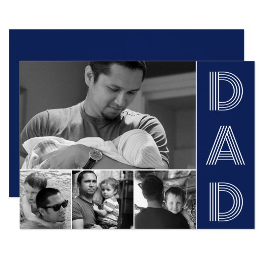 Modern Dad Navy Blue Fathers Day Photo Card
