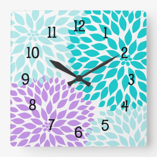 Modern Dahlia flowers turquoise lavender purple Square Wall