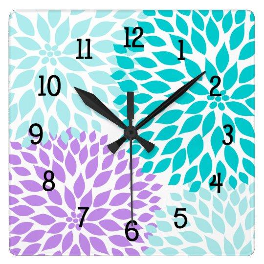 Modern Dahlia flowers turquoise lavender purple Wall Clock