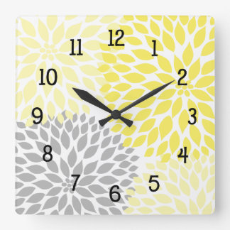 Modern Dahlia flowers yellow and gray grey Wall Clock