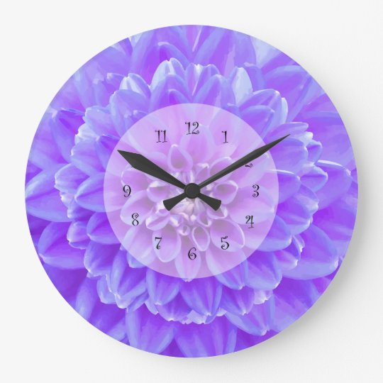 Modern Dahlia Kitchen Wall Decor Large Clock