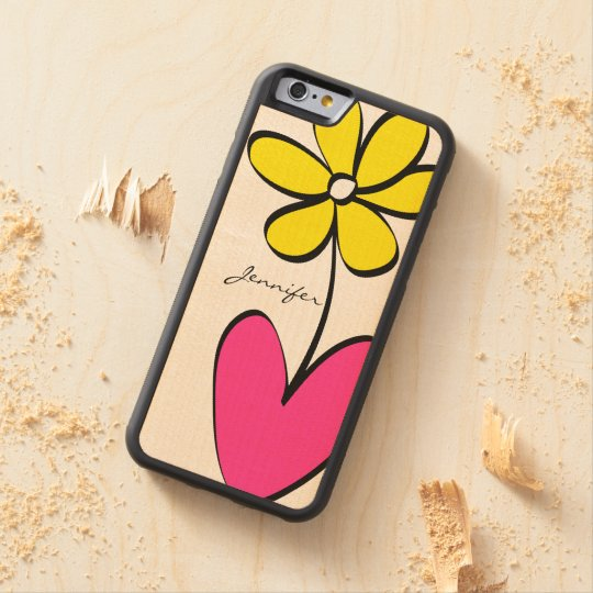Modern Daisy Personalised iPhone 6/6S Wood Case