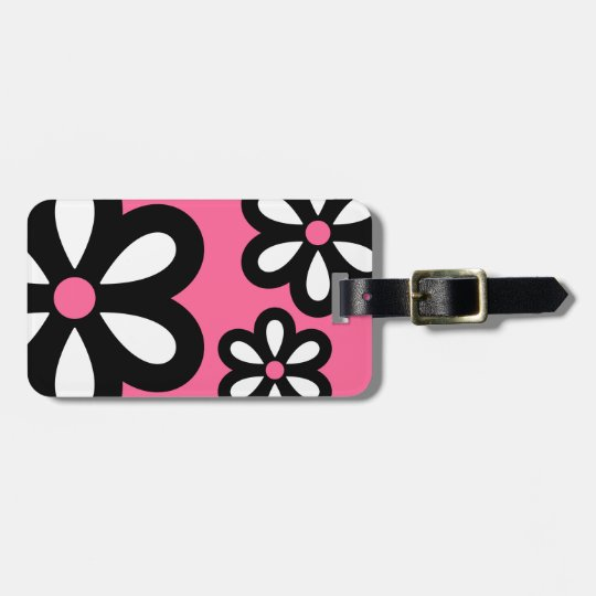 Modern Daisy Personalised Luggage Tag - Pink