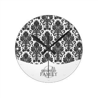 Modern Damask Black and White Family Personalised Wallclock