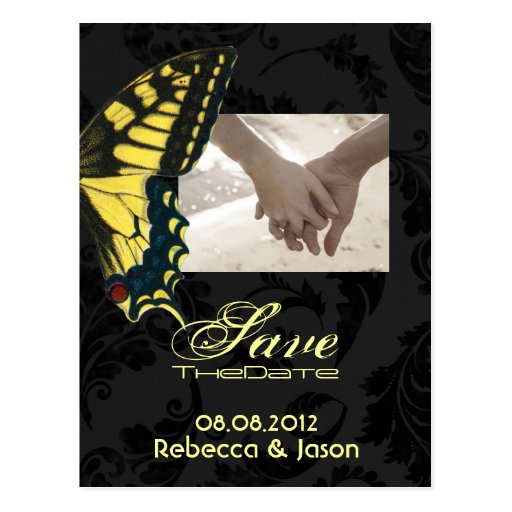 modern damask Butterfly Wedding savethedate Post Card