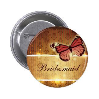 modern Damask glamorous Butterfly Wedding 6 Cm Round Badge