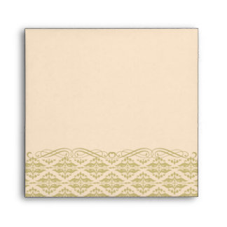 Modern Damask in Ivory and Gold Square Envelope