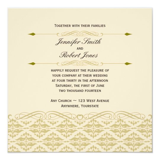 Modern Damask in Ivory and Gold Wedding Invitation