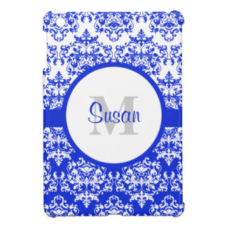 Modern damask monogram iPad mini cases