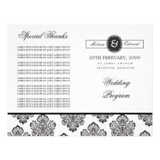 Modern Damask Monogram Wedding Program Booklet Flyer