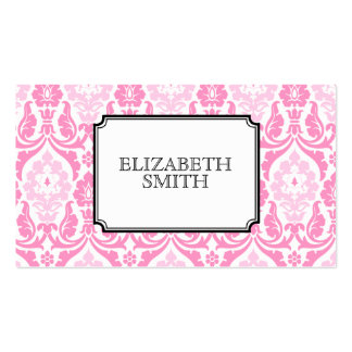 Modern Damask Pink Black Business Card
