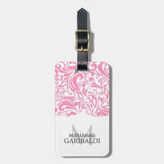 Modern Damask Pink Personalised Luggage Tag