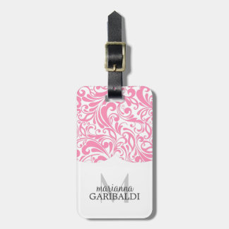 Modern Damask Pink Personalized Luggage Tag