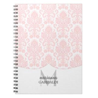 Modern Damask Pink Personalized Notebook
