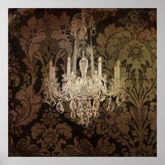 modern damask vintage crystal chandelier print