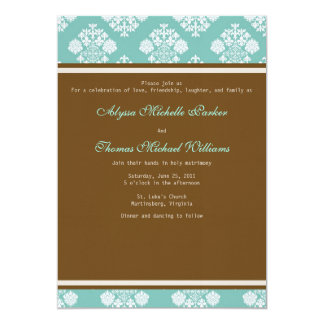 Modern Damask Wedding Invitation (Sky Blue)