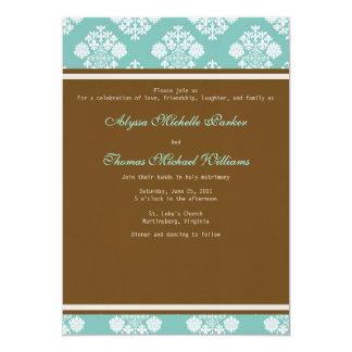 Modern Damask Wedding Invitation (Sky Blue)