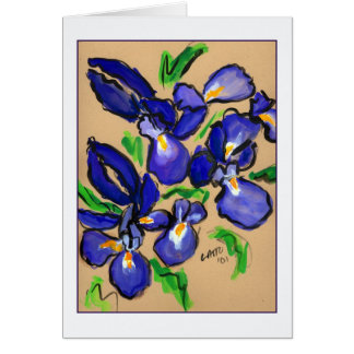 Modern Dance Iris Painting Greeting Card