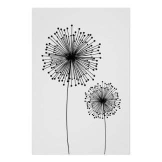 Modern Dandelion Flower CUSTOM COLOR Poster
