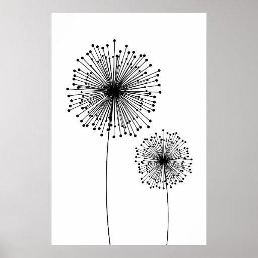 Modern Dandelion Flower CUSTOM COLOR Poster