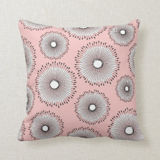 Modern Dandelion Flower Pattern Blush Pink Cushion
