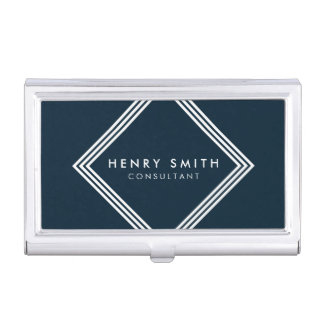 Modern Dark Blue and White Borders Geometric Business Card Holder