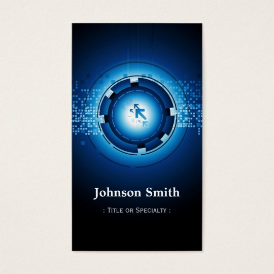 Modern Dark Blue High Technology Business Card