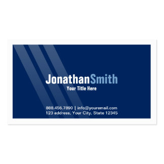 Modern Dark Blue With Stripes and Frame Pack Of Standard Business Cards