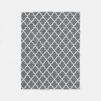 Modern Dark Gray and White Moroccan Quatrefoil Fleece Blanket